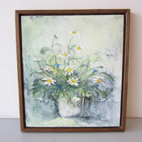 "Maret Maiste Original Painting Acrylic on Canvas 14"" x 16"" Still Life Daisies"