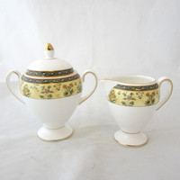 Wedgwood China INDIA Globe Shape Sugar Bowl w/Lid & Creamer