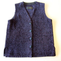 Lynn Yarrington Purple Black Stripe Chenille Vest Size Small S
