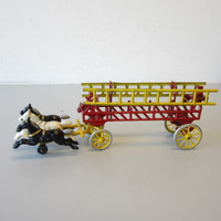 Antique Kenton Cast Iron 3-Horse Drawn Fire Truck Wagon w/Drivers & Ladders