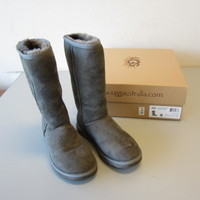 UGG Classic #5815 Sheepskin Gray Suede Tall Pull-On Boots US Size 6 OB