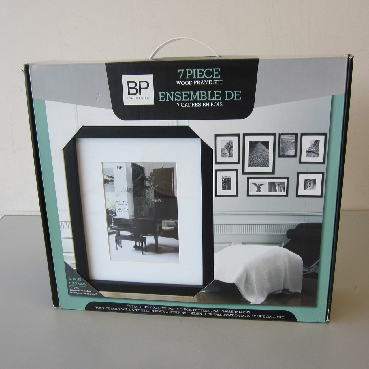 New Open Box Set 7 Black Wood Picture Frames w/Hanging Templates ...