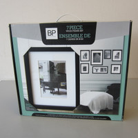 New Open Box Set 7 Black Wood Picture Frames w/Hanging Templates Stairway Wall