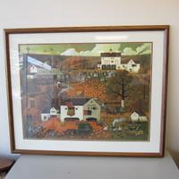 Ltd. Ed. Charles Wysocki Lithograph Print DANCING PHEASANT FARM Framed w/COA