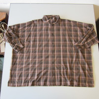 Eskandar Wide Twisted Scrunch Neck Shirt Long Brown Plaid Size 1