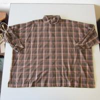 Eskandar Wide Twisted Scrunch Neck Shirt Long Brown Plaid Size 1