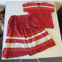 Vintage 1950s Lummi Nation Washington State Woven Cotton Skirt Top Red Black