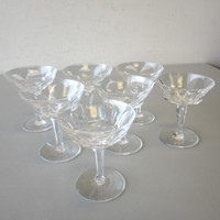 """7 Signed Waterford Crystal SHEILA Sherbet Champagne Glasses 4-3/4"""""""