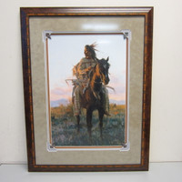 """Pencil-Signed Numbered Howard Terpning """"Last Rays of Sun"""" #821/950 Framed"""