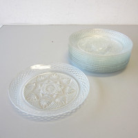 11 Vintage Cristal D'Arques Durand ANTIQUE Pressed Glass Dinner Plates 10-1/4""