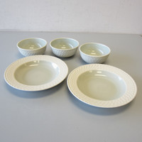 5 Wedgwood Stone Harbor SEAGRASS Bowls 3-Coupe Cereal 2-Rimmed Soup