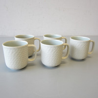 5 Wedgwood Stone Harbor SEAGRASS Green Coffee Mugs 3-5/8""