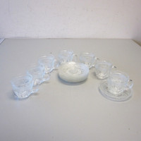 7 Vintage Cristal D'Arques Durand ANTIQUE Pressed Glass Cup & Saucer Sets