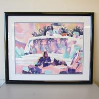 Dennis Luken Original Watercolor Painting Tropical Beach Pastel Framed