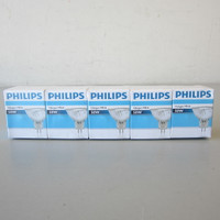New 5-Pack Philips Halogen Bulbs MR16 50W 12V GU 5.3 Base 50MR16/FL36 EXN