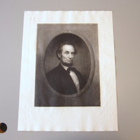 Original 1866 Abraham Lincoln Portrait Engraving William Edgar Marshall Large
