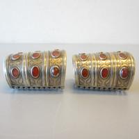 Pair Turkmen Turkoman Afghanistan Claw Cuff Bracelets Silver Gold Carnelian