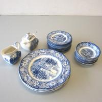 27 Pcs Vintage Liberty Blue Staffordshire Dinner & Bread Plates Fruit Bowls