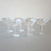 6 Signed Waterford Crystal SHEILA Sherbet Champagne Glasses 4-3/4""