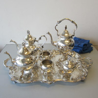 9 Pc Set Birmingham Silver on Copper Tea Pot Tilt Hot Water Sugar Creamer Tray