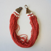 Antique Vintage African NAGA Nagaland Trade Bead Necklace Multi-Strand Red
