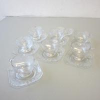 HTF Vintage Fostoria MANOR 6007 Acid Etched Pattern #286 7 Cups 8 Saucers