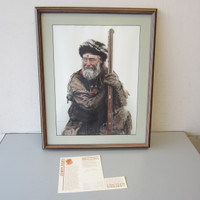 Signed James Bama Limited Edition MOUNTAIN MAN Framed Art Print No. 243/1000