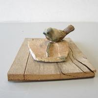 Vintage Franz Kriwanek Silverton Mountain Pottery Ceramic Bird on Wood Plaque