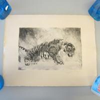 "Pencil-Signed Kurt Meyer-Eberhardt Black & White Engraving ""Tiger"" #31/120"