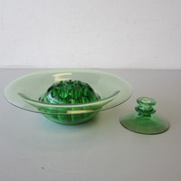 3 Pcs Heisey Moongleam (Cambridge Green) Console Bowl Flower Frog Candle Stick