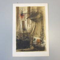 "Vintage MCM Signed Numbered RENEE LUBAROW Abstract Expressionist Etching ""Rives"""