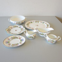 7 Pcs Aynsley China Garden Gate Wilton Gravy Sugar Creamer Platter Casserole