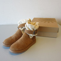 UGG 1011460 Women Cassidee Short Suede Leather Knit Chestnut Sheepskin Boot US 6