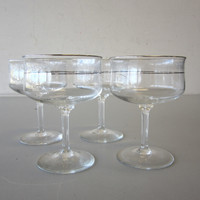 4 Lenox Crystal MOONSPUN Etched Sherbet Champagne Glasses Platinum Trim