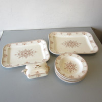 """14 Pcs Antique Doulton's VERSAILLES Sauce Tureen w/Ladle 15"""" 17"""" Platters 9 Bowl"""
