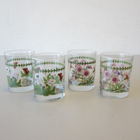 4 Vintage Portmeirion Botanic Garden Butterflies Double Old-Fashioned Glasses