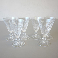 "6 Signed Waterford Crystal TRAMORE 4-1/2"" Sherry Cordial Glasses Goblets"