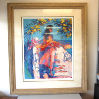 "Pencil-Signed Numbered RP10 Serigraph Nicola Simbari ""Mimosa"" Framed Print"