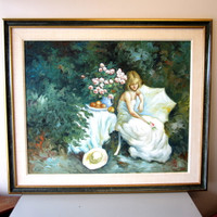 "Signed Large Juan Rosell Original Oil Painting ""Reflejo"" Woman w/Roses Framed"