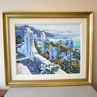 """Signed Limited Ed. 33/71 Embellished Serigraph Howard Behrens """"Rhodes"""" Framed"""