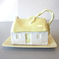 Vintage Belleek Cottage House Butter Cheese Dish Cover & Underplate 7th Mark