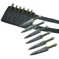 """6"""" Green Wrapped Black Throwing Knife 6pc Set"""