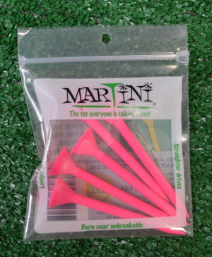 "Martini 3 1/4"" Pink Golf Tees"