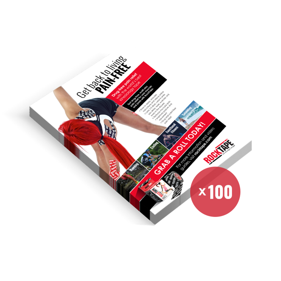 100 patient brochure cards detailing RockTape & RockSauce benefits.