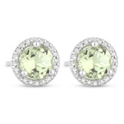 1.04ct Round Green Amethyst & Diamond Halo Martini Stud Earrings in 14k White Gold