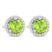 1.26ct Round Cut Peridot & Diamond Halo Martini Stud Earrings in 14k White Gold