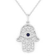 0.09ct Round Cut Diamond & Sapphire Hamsa Hand Evil Eye Charm Pendant in 14k White Gold w/ Chain Necklace