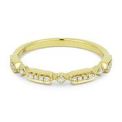 0.11ct Round Cut Diamond Stackable Fashion Band / Anniversary Ring in 14k Yellow Gold