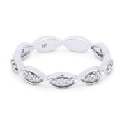 0.13ct Round Cut Diamond Stackable Right-Hand Ring / Band in 14k White Gold