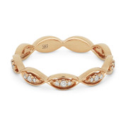 0.13ct Round Cut Diamond Stackable Right-Hand Ring / Band in 14k Rose Gold